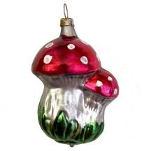 "Double Mushrooms Blown Glass Ornament ~ Germany ~ 3"" tall"