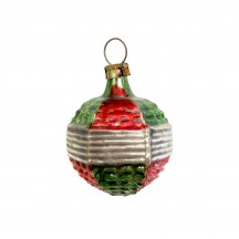 """Classic Red and Green Ball Ornament ~ Germany ~ 1-3/4"""" tall"""