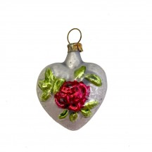 """Mini Heart with Rose Blown Glass Ornament ~ Germany ~ 1-3/4"""" tall"""