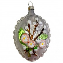 """Large Pussy Willow Egg Glass Ornament ~ Germany ~ 3-1/2"""" tall"""