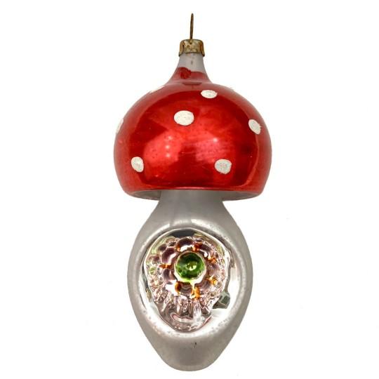 """Mushroom Indent Blown Glass Ornament ~ Germany ~ 4"""" tall"""