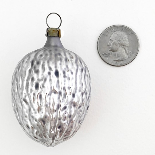 "SIlver Walnut Bown Glass Christmas Ornament ~ Germany ~2-1/2"" tall"