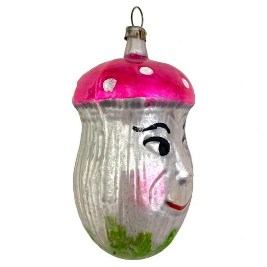 "Whimsical Mushroom Man Blown Glass Ornament ~ Germany ~ 3-1/2"" tall"