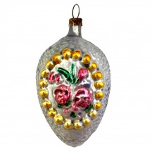 """Large Rose and Cross Egg Glass Ornament ~ Germany ~ 3"""" tall"""
