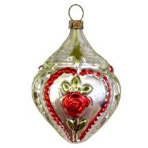 "Fancy Rose Heart Blown Glass Ornament ~ Germany ~ 2-5/8"" tall"