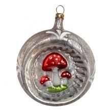 """Mushroom Indent Blown Glass Ornament ~ Germany ~ 3"""" tall"""