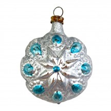 """SIlver and Blue Flower Ornament ~ Germany ~2-1/4"""" tall"""