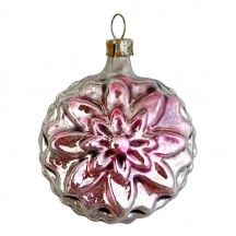 """SIlver and Pink Flower Ornament ~ Germany ~2-1/2"""" tall"""