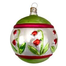"Fancy Green Tulip Ball Bown Glass Ornament ~ Germany ~ 3"" across"