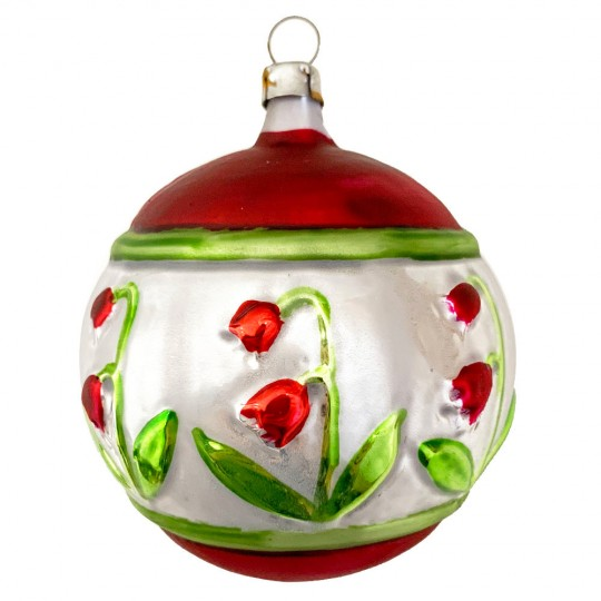 """Fancy Red Tulip Ball Bown Glass Ornament ~ Germany ~ 3"""" across"""