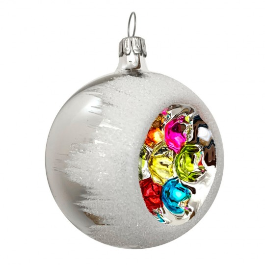 """Snowy Multi-color Retro Indent Ornament ~ Germany ~ 2-1/4"""" across"""