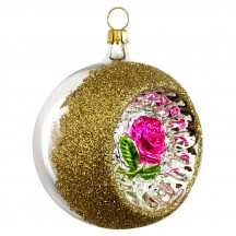 """Hot Pink Rose Silver Reflector Indent Ornament ~ Germany ~ 3"""" across"""