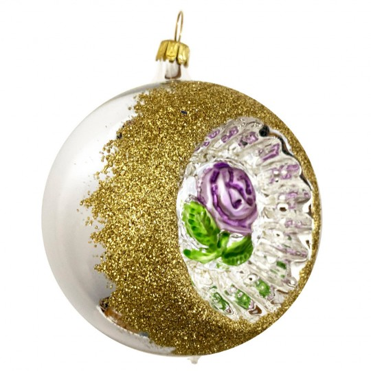 """Light Purple Rose Silver Reflector Indent Ornament ~ Germany ~ 3"""" across"""
