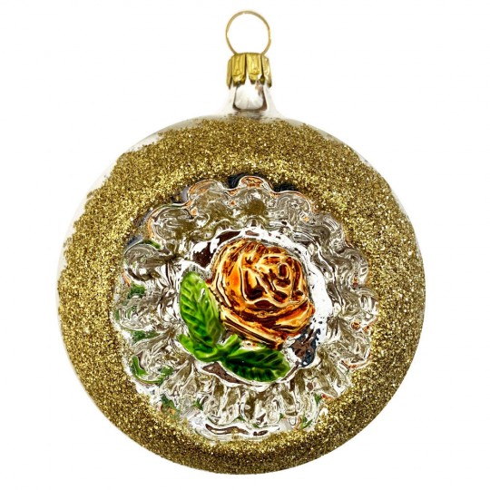 """Copper Rose Silver Reflector Indent Ornament ~ Germany ~ 3"""" across"""