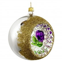 """Purple Rose Silver Reflector Indent Ornament ~ Germany ~ 3"""" across"""