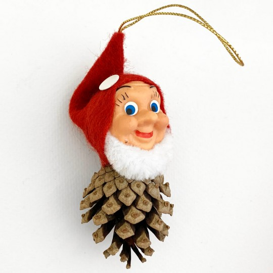"""Whimsical Pine Cone Gnome Ornament ~ Made in Germany ~ 4"""""""