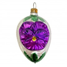 """Purple Pansy Egg Glass Ornament ~ Germany ~ 3"""" tall"""