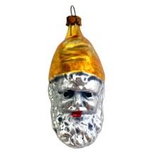 "Gnome Head Blown Glass Ornament ~ Germany ~ 2-5/8"" tall"