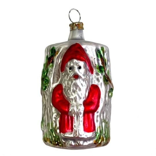 """Santa on Tree Stump Blown Glass Ornament ~ Germany ~ 2-3/4"""" tall"""
