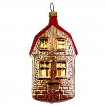 """Stone Cottage House Blown Glass Ornament ~ Germany ~ 3-1/2"""" tall"""