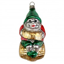 """Gnome Playing Accordion on Log Blown Glass Ornament ~ Germany ~ 3-3/4"""" tall"""