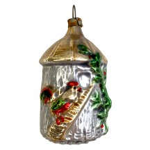 """Rooster and Coop Blown Glass Ornament ~ Germany ~ 2-3/4"""" tall"""
