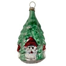 "Gnome and Mushroom Tree Blown Glass Ornament ~ Germany ~ 3"" tall"