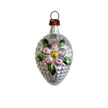 "Bumpy Flower Egg Glass Ornament ~ Germany ~ 2"" tall"