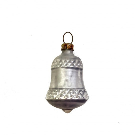 """Petite Silver Bell Blown Glass Ornament ~ Germany ~ 1-7/8"""" tall"""