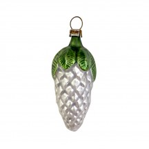 """Classic SIlver Pine Cone with Leaves Ornament ~ Germany ~ 2-5/8"""" tall"""