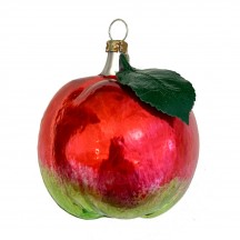"""Apple with Leaf Blown Glass Ornament ~ Germany ~ 2-1/2"""" tall"""