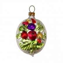 """Flower Bouquet Egg Glass Ornament ~ Germany ~ 2-1/4"""" tall"""