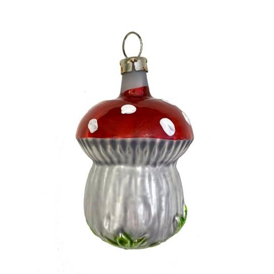 """Mushroom with Grass Blown Glass Ornament ~ Germany ~ 2-1/4"""" tall"""
