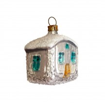 """Snowy House Blown Glass Ornament ~ Germany ~ 1-3/4"""" tall"""