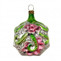 """Green and Pink Flower Vine Glass Ornament ~ Germany ~ 2-5/8"""" tall"""