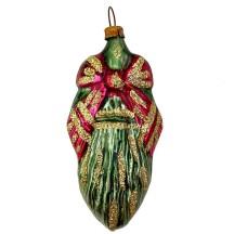 "Christmas Greenery Blown Glass Ornament ~ Germany ~ 3-5/8"" tall"