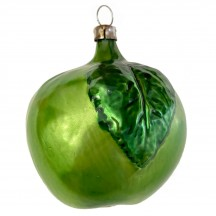 """Large Green Apple with Leaf Blown Glass Ornament ~ Germany ~ 3"""" tall"""
