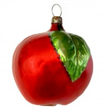 """Large Red Apple with Leaf Blown Glass Ornament ~ Germany ~ 3"""" tall"""