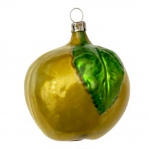 """Large Yellow Apple with Leaf Blown Glass Ornament ~ Germany ~ 3"""" tall"""
