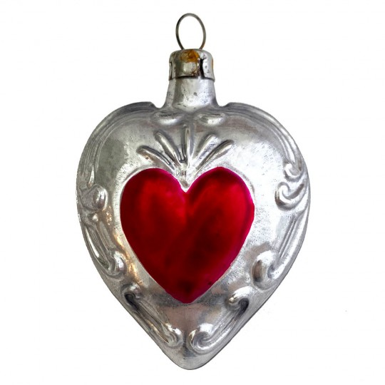 """Sacred Heart Blown Glass Ornament ~ Germany ~ 2-3/4"""" tall"""