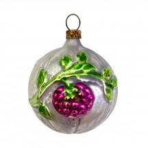 """Fancy Berry Ball Blown Glass Christmas Ornament ~ Germany ~2"""" tall"""