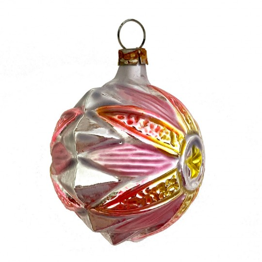 """Pink and Gold Flower Ball Glass Ornament ~ Germany ~ 2"""" tall"""