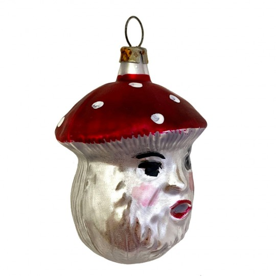 """Mushroom Man Blown Glass Ornament ~ Germany ~ 2-3/8"""" tall"""