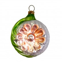 "Peach Flower Fancy Blown Glass Ornament ~ Germany ~ 2-1/2"" tall"