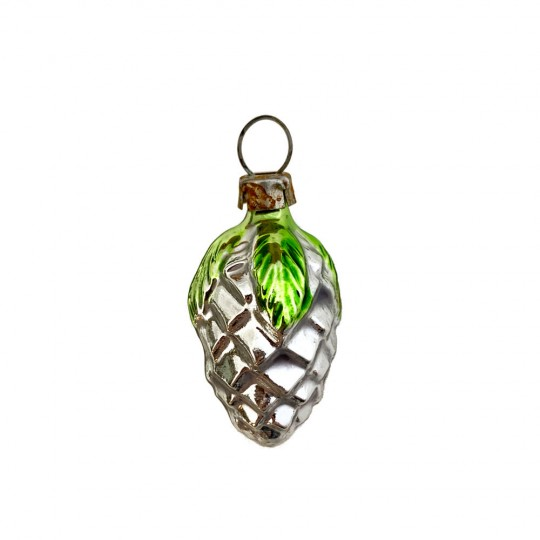 """Petite Green and SIlver Pine Cone with Leaves Ornament ~ Germany ~1-1/2"""" tall"""