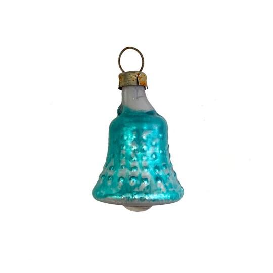 """Petite Bumpy Blue Bell Blown Glass Ornament ~ Germany ~ 1-1/2"""" tall"""