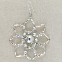 "Silver Glass Bead Star Flower Ornament ~ 2-1/2"" ~ Czech Republic"