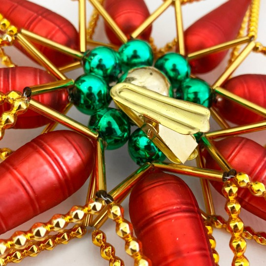 """Fancy Red, Gold and Green Brilliant Star Christmas Tree Topper ~ 10"""" across ~ Czech Republic"""