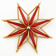 """Fancy Red and Gold Radiant Star Christmas Tree Topper ~ 7-1/2"""" across ~ Czech Republic"""