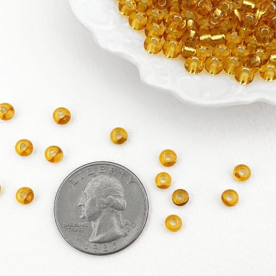 100 Amber Glass Spacer Beads ~ Czech Republic